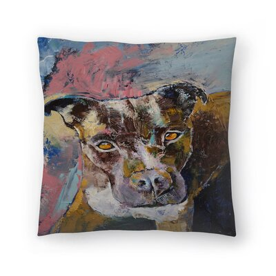 Michael Creese Brindle Pit Bull Throw Pillow Size: 18 x 18