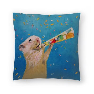 Michael Creese Happy Hamster New Year Throw Pillow Size: 16 x 16