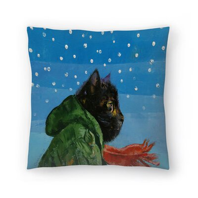 Michael Creese Winter Kitten Throw Pillow Size: 16