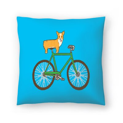Joe Van Wetering Corgi on a Bike Throw Pillow Size: 16 x 16