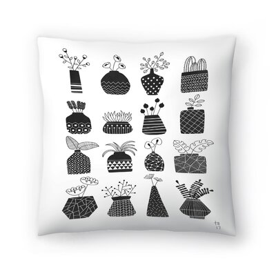 Ornamental Vases Monochrome Throw Pillow Size: 18 x 18
