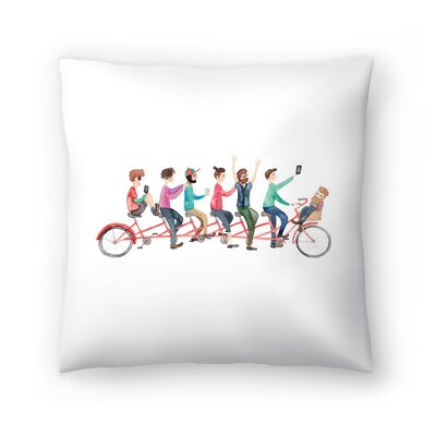 Elena ONeill Bike Ride Throw Pillow Size: 16 x 16