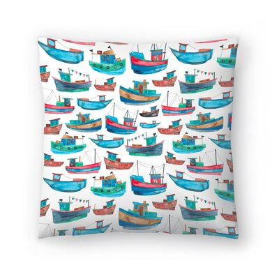 Elena ONeill Fishing Boats Throw Pillow Size: 14 x 14