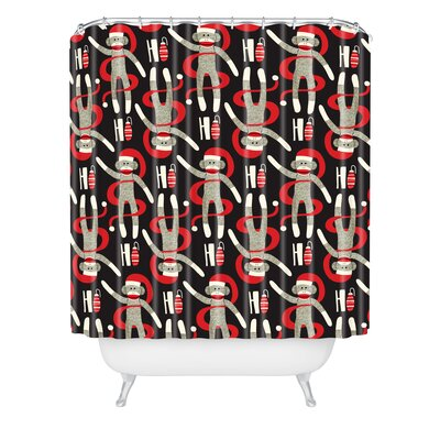 Heather Dutton Sock Monkey Santa Shower Curtain Size: 90 H x 69 W