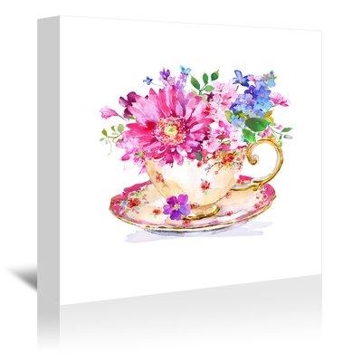 "'Vintage Cup Floral' Print Size: 20"" H x 20"" W, Format: Wrapped Canvas ETUH9608 42495806"