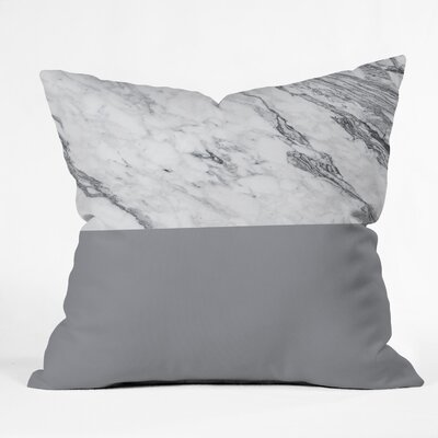Kelly Haines Gray Marble Throw Pillow Size: 18 x 18