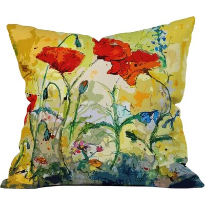 Poppies Provence Outdoor Throw Pillow Size: Medium