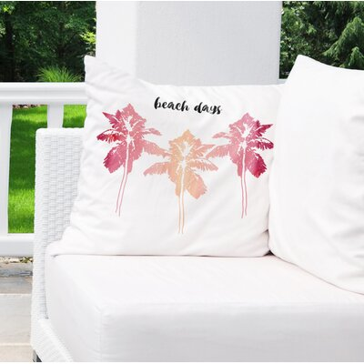 Square Indoor/Outdoor Throw Pillow Size: 18 x 18, Color: Pink/ Pink/ Black/ White
