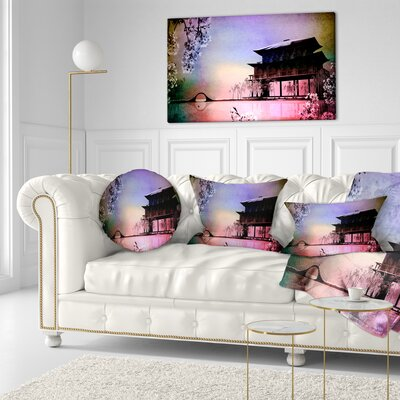 Rural Landscape with Flowers Painting Throw Pillow Size: 16 x 16