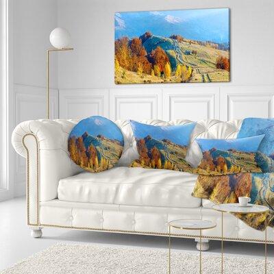 Rural Road on Autumn Mountains Landscape Printed Throw Pillow Size: 20 x 20