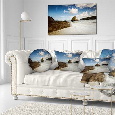 Rushing Waters Into Rocky Mountains Seashore Photo Throw Pillow Size: 20 x 20