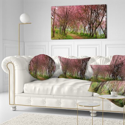 Sakura Flowers in Thailand Landscape Printed Throw Pillow Size: 16 x 16