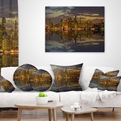 San Francisco at Sunset Panorama Cityscape Throw Pillow Size: 16 x 16