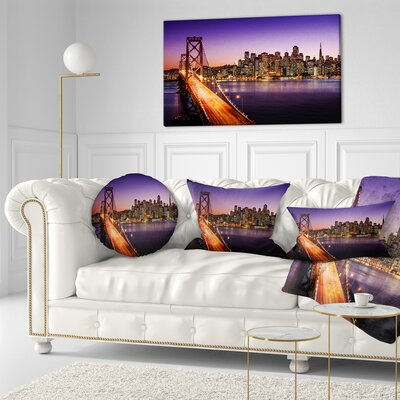 San Francisco Skyline and Bay Bridge Sea Bridge Throw Pillow Size: 16 x 16