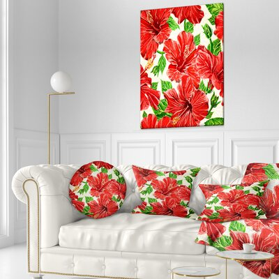 Seamless Hibiscus Flowers Pattern Floral Throw Pillow Size: 16 x 16