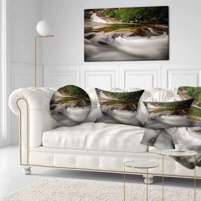Segade Waterfall Galicia Spain Landscape Photo Throw Pillow Size: 16 x 16