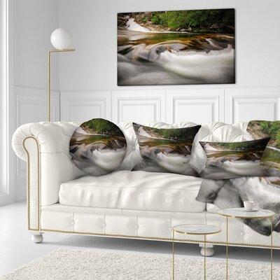 Segade Waterfall Galicia Spain Landscape Photo Throw Pillow Size: 20 x 20