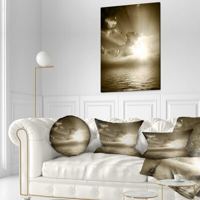 Sepia Toned Cloudy Sunrise Landscape Printed Throw Pillow Size: 16 x 16