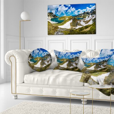 Seven Rila Lakes in Bulgaria Landscape Printed Throw Pillow Size: 20 x 20