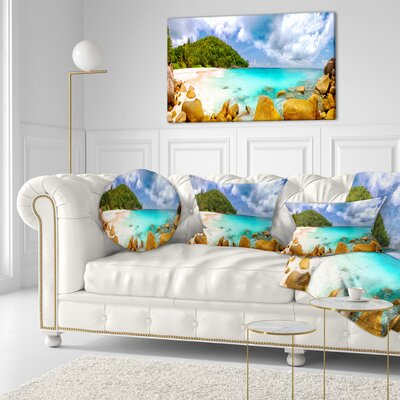 Seychelles Beach Panorama Seascape Photography Throw Pillow Size: 16 x 16
