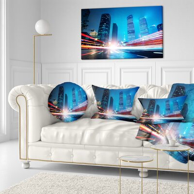 Shanghai Lujiazui Finance at Night Cityscape Throw Pillow Size: 16 x 16