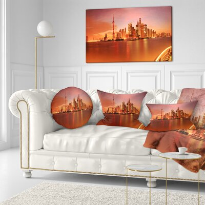 Shanghai Lujiazui Skyline Cityscape Photography Throw Pillow Size: 16 x 16