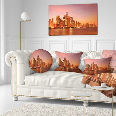 Shanghai Skyline at Dawn Cityscape Photo Throw Pillow Size: 16 x 16