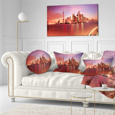 Shanghai Skyline at Dawn Panorama Cityscape Throw Pillow Size: 16 x 16