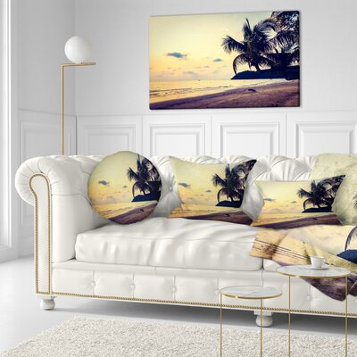 Silhouette Coconut Tree Seascape Throw Pillow Size: 16 x 16