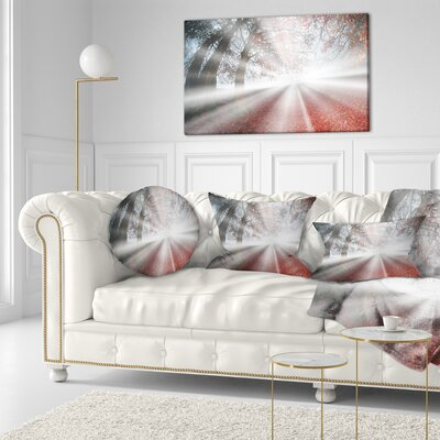 Sun Rays to Foggy Forest Landscape Photo Throw Pillow Size: 20 x 20