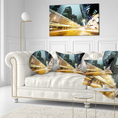Traffic in Hong Kong at Night Cityscape Throw Pillow Size: 16 x 16