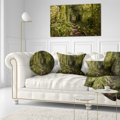 Tree Rail Tunnel in Forest Landscape Photo Throw Pillow Size: 16 x 16