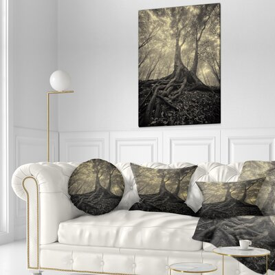 Tree with Big Roots on Halloween Landscape Photography Throw Pillow Size: 16 x 16
