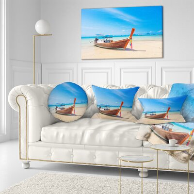 Tropical Beach with Boat Seashore Photo Throw Pillow Size: 20 x 20