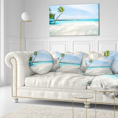 Tropical Maldives Island Seascape Throw Pillow Size: 20 x 20