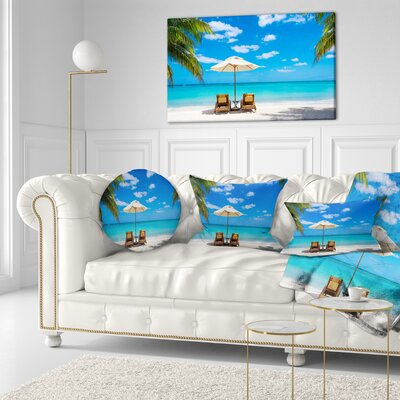 Beach with Chairs Seashore Photo Throw Pillow Size: 20 x 20
