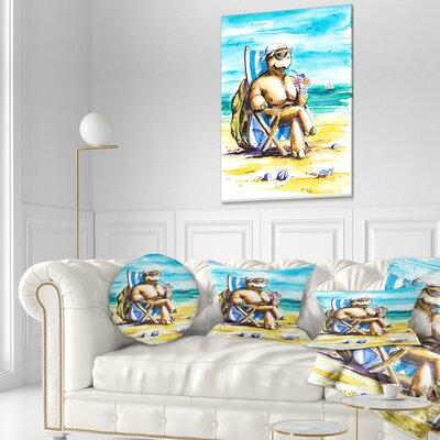 Turtle Enjoying Holidays on Beach Seashore Throw Pillow Size: 20 x 20