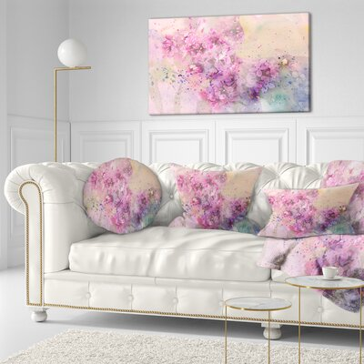 Twig of Lilac Flowers Floral Throw Pillow Size: 20 x 20