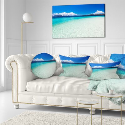 Vacant Beach with Water Seascape Throw Pillow Size: 16 x 16