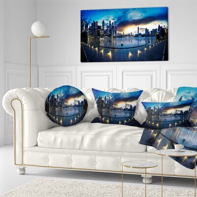 View from Marina Bay Sands Panorama Cityscape Throw Pillow Size: 16 x 16