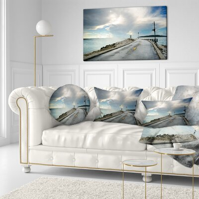 Pathway into the Ocean Sea Bridge Throw Pillow Size: 16 x 16