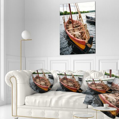 Wooden Boat Seascape Throw Pillow Size: 16 x 16
