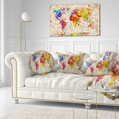 World Map Throw Pillow Size: 16 x 16