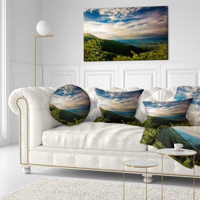 Vitosha Mountain over Sofia Bulgaria Landscape Printed Throw Pillow Size: 20 x 20