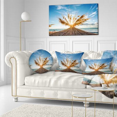 Vivid Sunrise on Sandy Beach Seascape Throw Pillow Size: 16 x 16