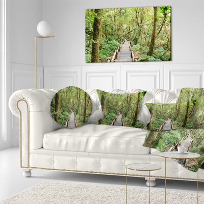 Walk Way in Deep Forest Landscape Photo Throw Pillow Size: 20 x 20