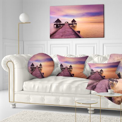 Walking Path to Abandoned Temple Sea Bridge Throw Pillow Size: 16 x 16