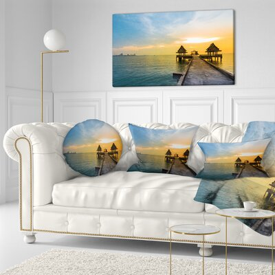 Walking Path to Temple in the Sea Bridge Throw Pillow Size: 20 x 20