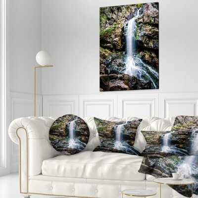 Waterfall in Sofia Bulgaria Landscape Printed Throw Pillow Size: 16 x 16