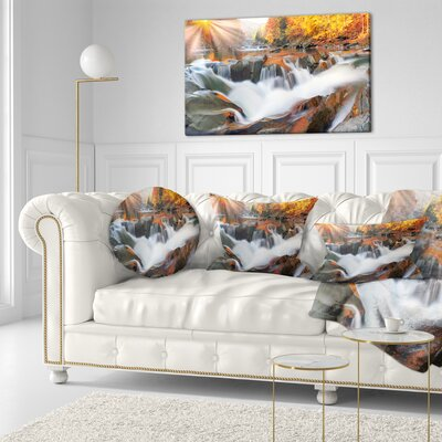 Waterfall Probiy in Prut River Landscape Photography Throw Pillow Size: 16 x 16